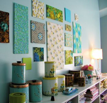 Fabric panels on wall from Bella Dia