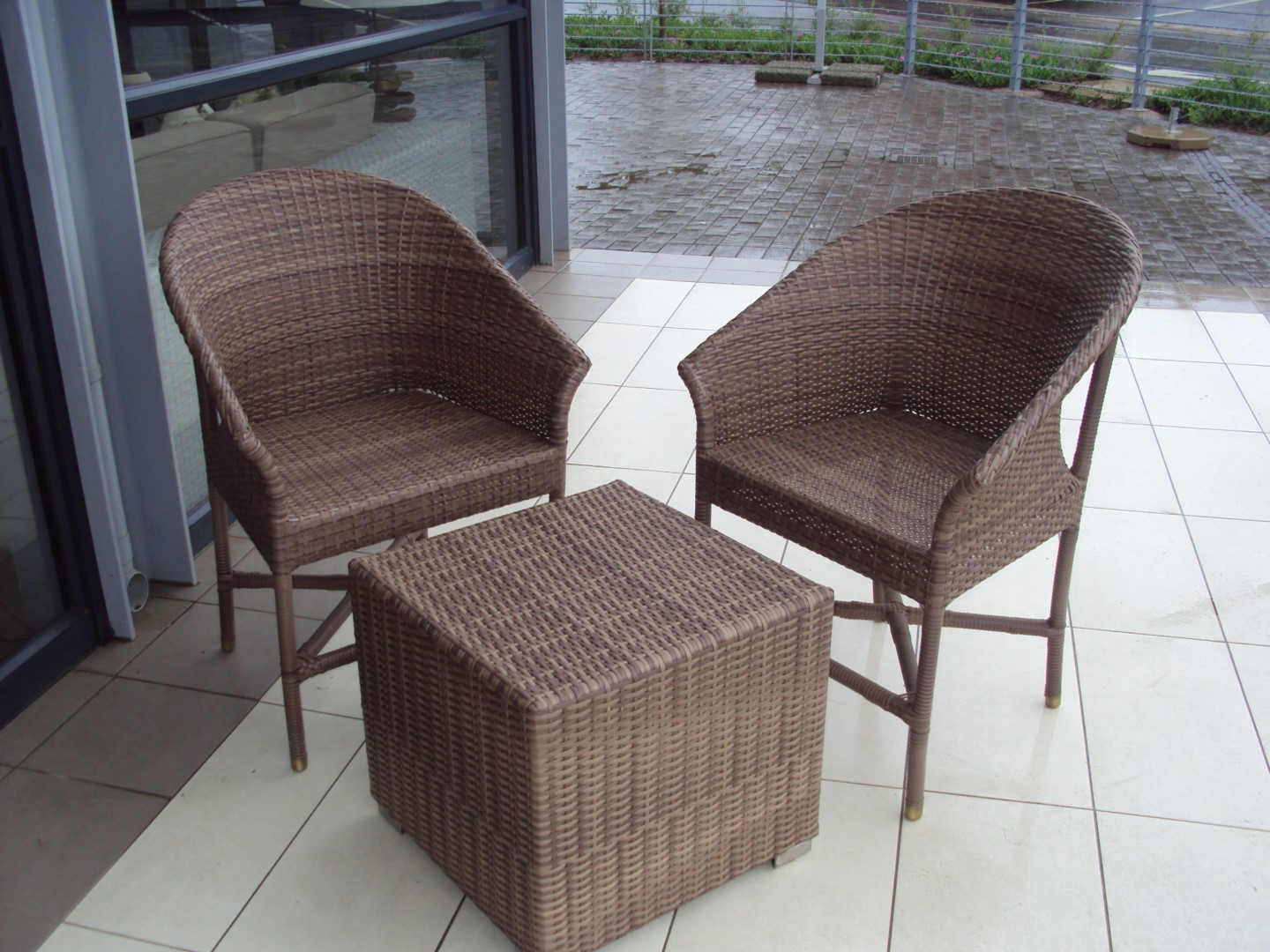 Two chairs an an ottoman