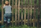 kisgyerek felmászik a kerítésre