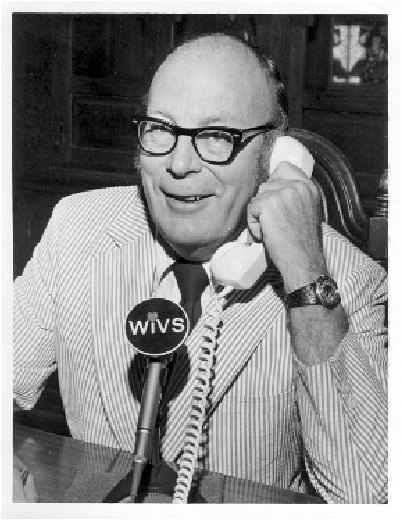 Mal Bellairs talking with a caller at WIVS