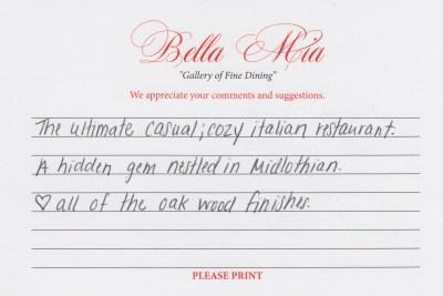 Bella Mia Fine Dining Compliment Card 11