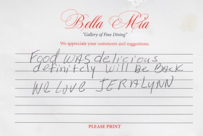 Bella Mia Fine Dining Compliment Card 29