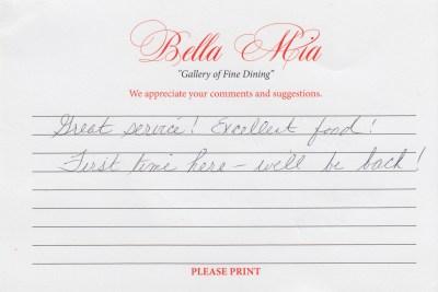 Bella Mia Fine Dining Compliment Card 31