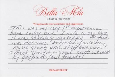 Bella Mia Fine Dining Compliments