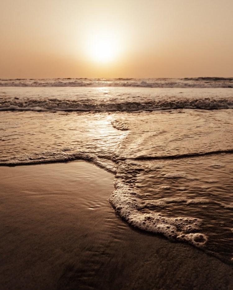 sunset golden liquid beach reflection