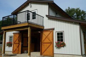 Back door of new barn at Bellamy Brook Stables, Maple Ridge BC