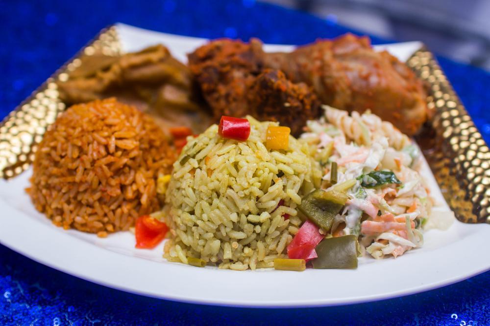 Jollof Rice Fried Rice Coleslaw Salad Stewed Chicken