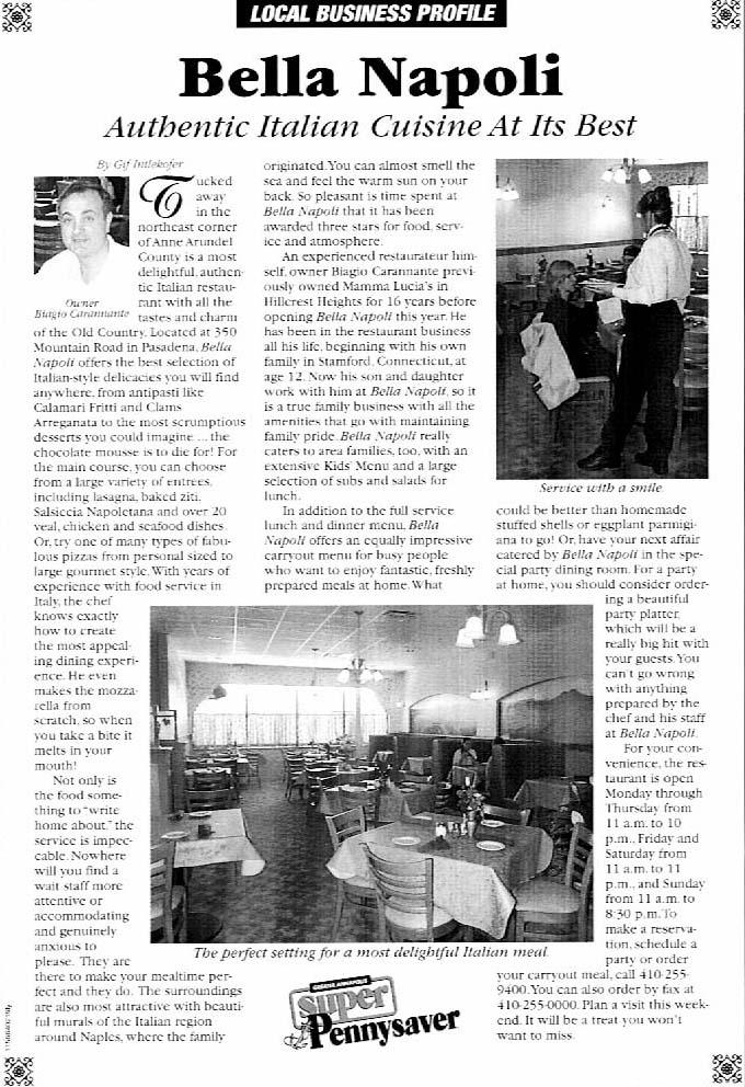 Pennysaver Magazine Article about Bella Napoli Restaurant