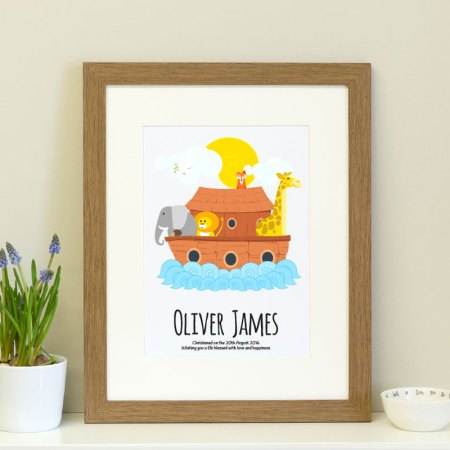personalised print featuring Noah's Ark ideal as a new born gift or christening gift for a boy or girl