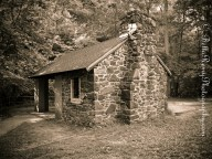 An old shelter now a picnic area.