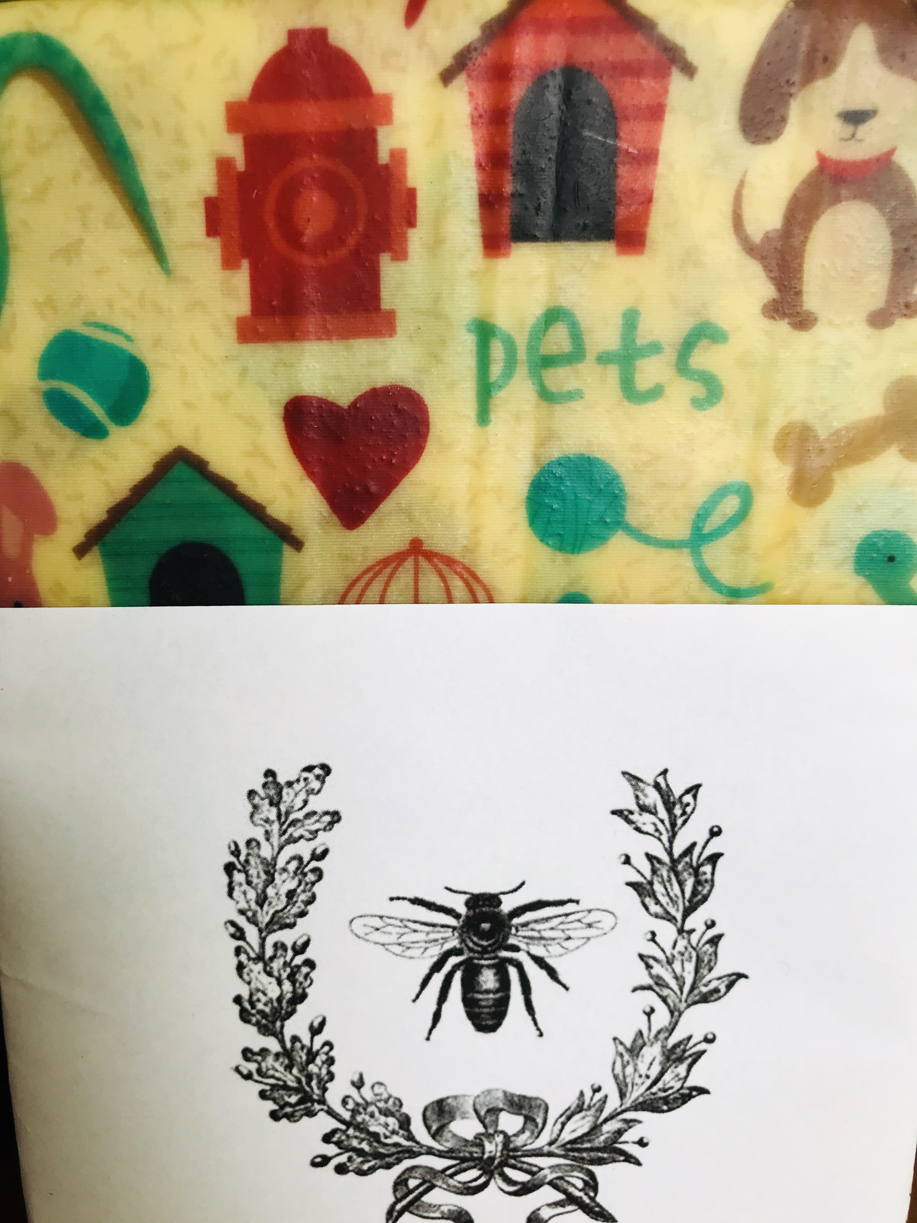 Beeswax food wraps Pet pattern
