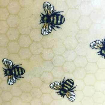 Gold glitter bees on honeycomb print reusable beeswax food wrap