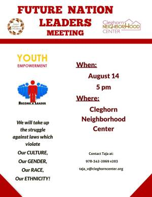 Flyer of the Cleghorn Neighborhood Center