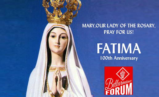 styled image of Our Lady of Fatima, with words for May being the Month of Mary, a blue background behind her, and at her side is a red square Bellarmine Forum logo