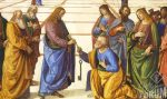 close up crop of Perugino's painting of Jesus handing the keys to St. Peter, who kneels before Our Lord to accept the charge