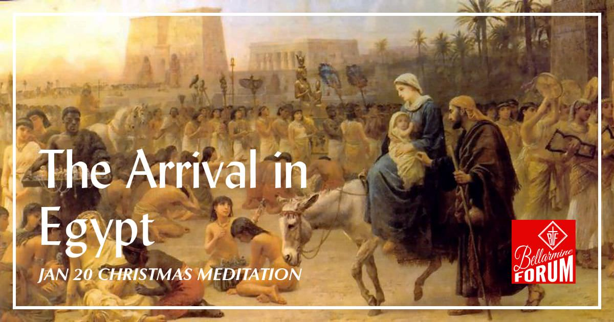 painting of the holy family arriving in egypt with many people, palm trees and buildings
