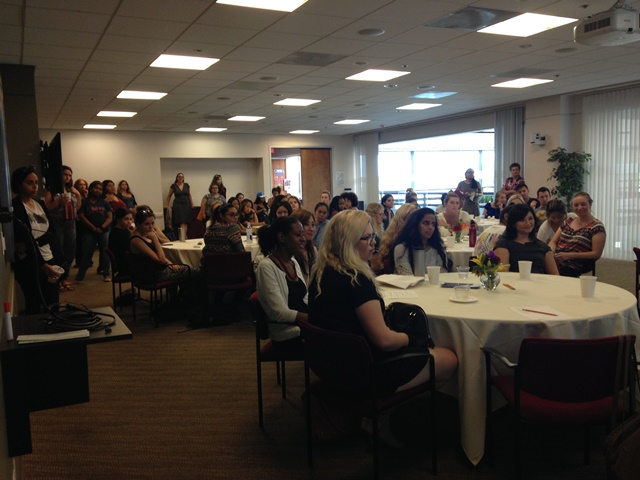 Audience at welcome large - 10 Years of Women's Studies at LMU: 2015 Fall Welcome Event
