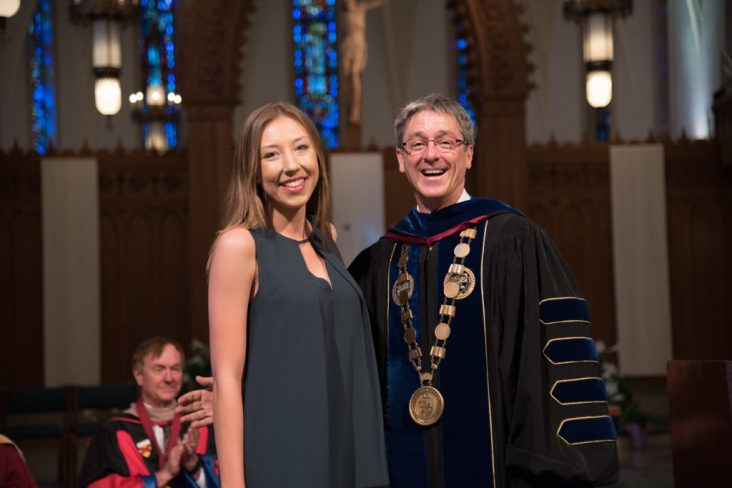 Valedictorian Allison Swenson '16 and President Timothy Law Snyder, Ph.D.