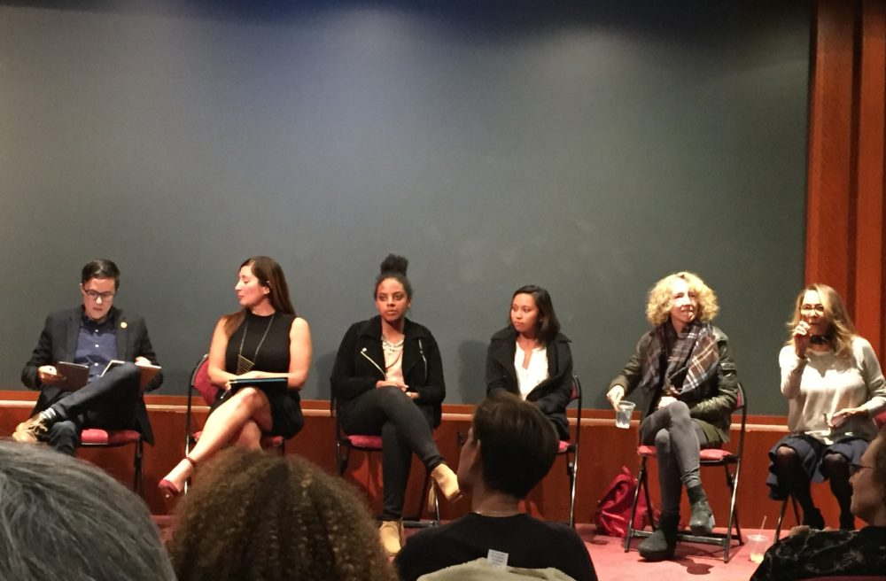"""Female employees seated at """"Good Girls Revolt"""" panel"""
