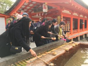 Students on class trip to Japan