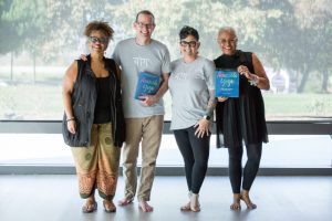 Jivana Heyman and other Accessible Yoga book launch participants at LMU Yoga Day.