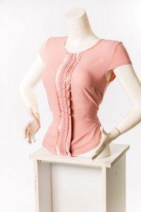 Ladies Chiffon Top Peach colored. Short Sleeves.