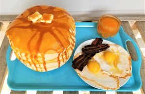 Pancakes and eggs cake