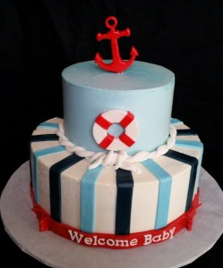 Nautical themed baby shower cake is so cute for your event in the Philadelphia area
