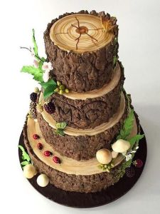 An outdoors couple wanted a groom cake that look like a tree, and we delivered