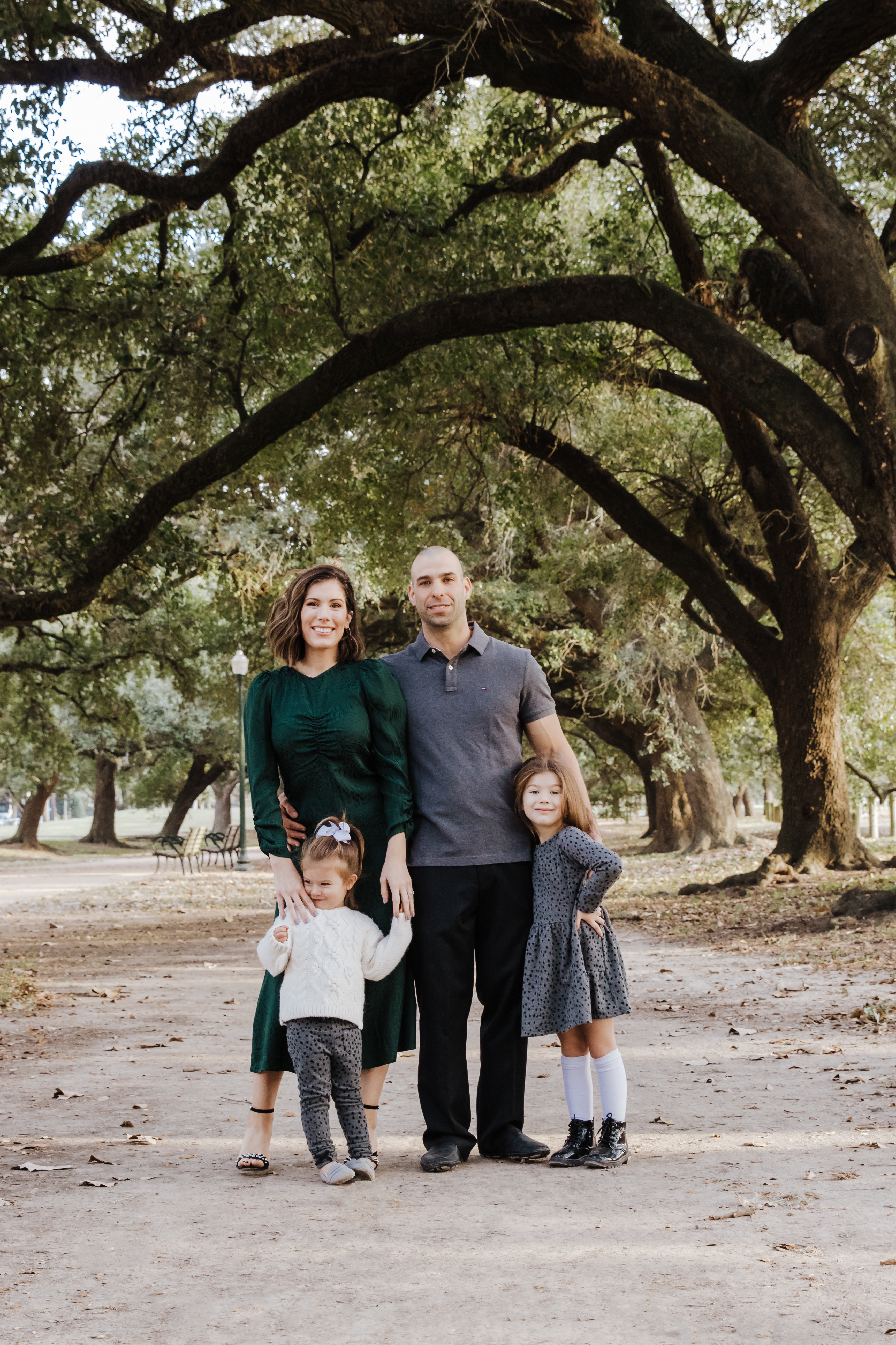 Houston blogger Maria Munoz with family during photo shoot
