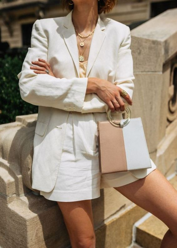 Women's white short suit