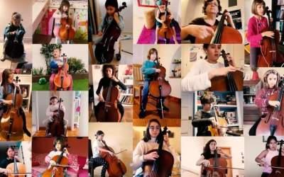 Els infants violoncelistes d'El Musical toquen una peça a través de videoconferència