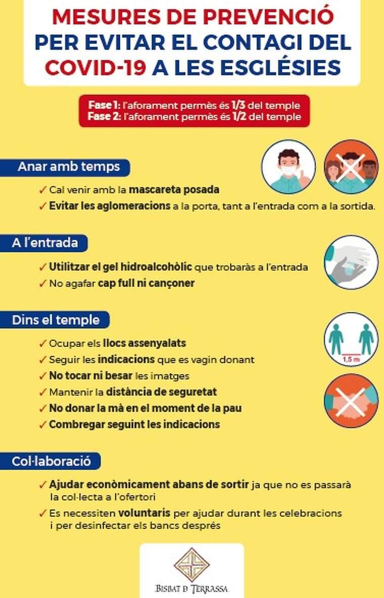Llistat de mesures de prevenció a les esglèsies contra el coronavirus
