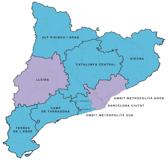 En blau, les regions a Fase II, en lila, regions a Fase I | Generalitat de Catalunya
