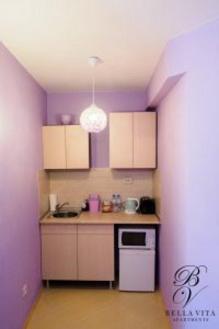 Кухненски бокс с микровълнова фурна, тостер и кана в апартамент под наем Благоевград