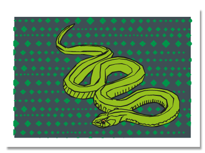 "chinese zodiac sign postcard""Snake"""
