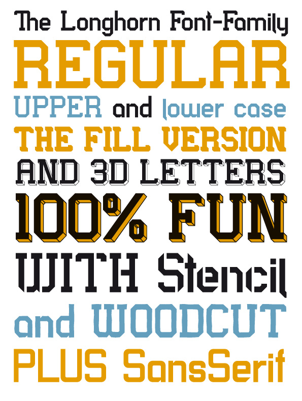 different styles of the Longhorn font