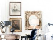 Antique Portraits and Cheetah Rug -- designed by Jamie Laubhan-Oliver