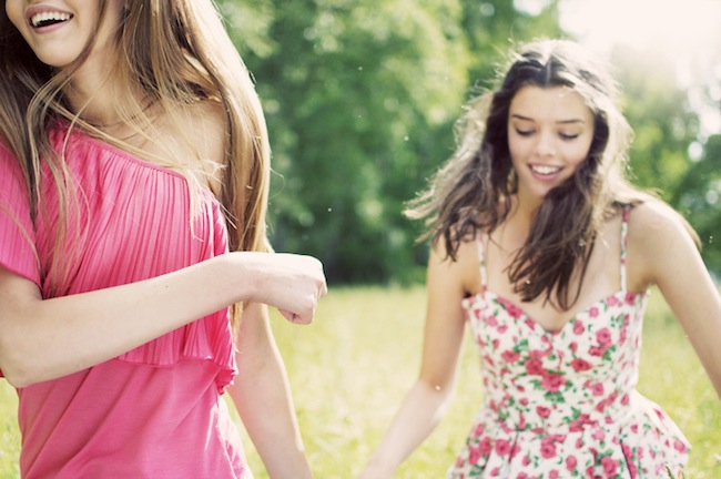 happy girls laughing smiling
