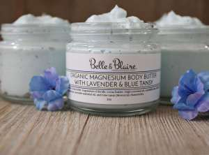 Organic Magnesium Body Butter with Lavender & Blue Tansy Maximum-Strength