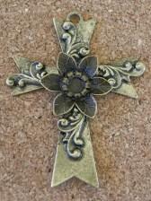 Croix fleurie bronze, 75x58mm