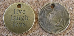 Live Laugh Love, médaillon/étiquette, diamètre de 19mm