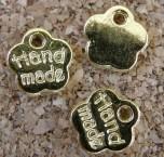 Petite étiquette dorée Hand made, diamètre de 8mm