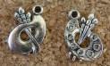 Palette  et Pinceaux argentés, 17x12mm