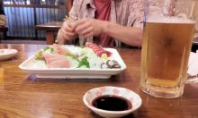 Sashimi plate and beers in Aobadai