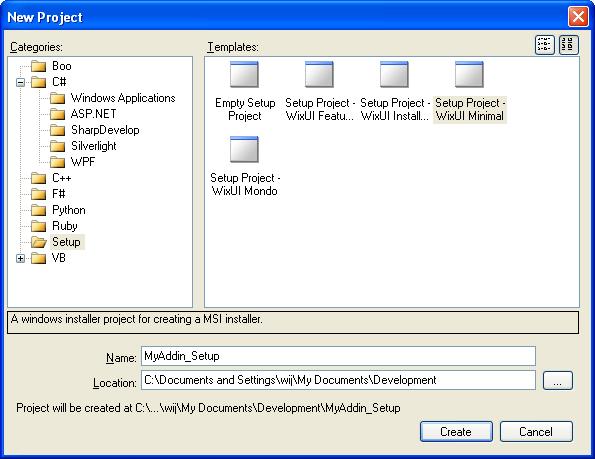 New WiX Setup Project
