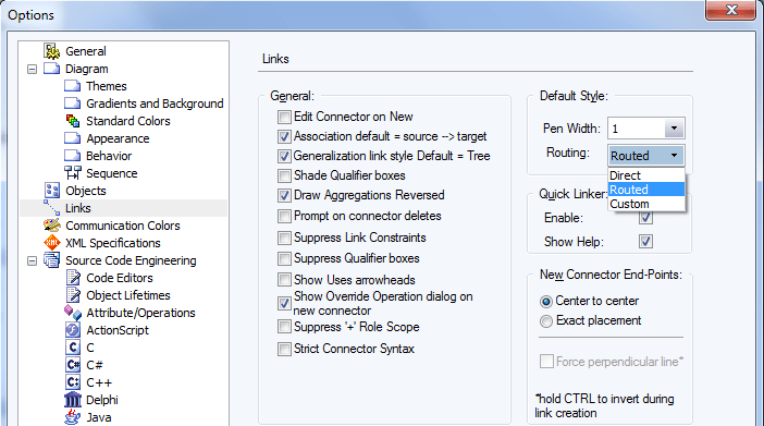 line style default options