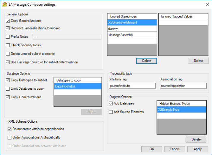 EA Message Composer Settings