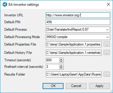 EA Imvertor Settings