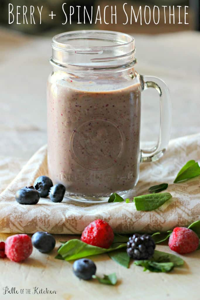 This Berry Spinach Smoothie is the perfect healthy way to start your day! It's full of vitamins and antioxidants and tastes amazing, too!